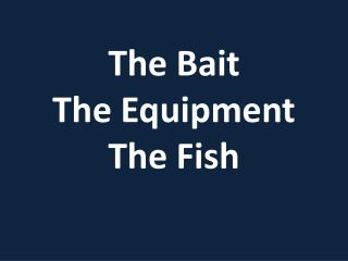 The Bait The Equipment The Fish