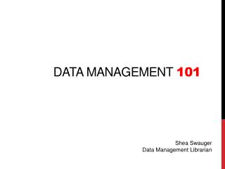 data management  101