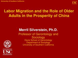 Labor Migration and the Role of Older Adults in the Prosperity of China