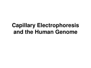 Capillary Electrophoresis and the Human Genome