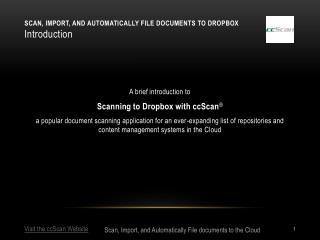 Scan, Import, and Automatically File documents to Dropbox Introduction