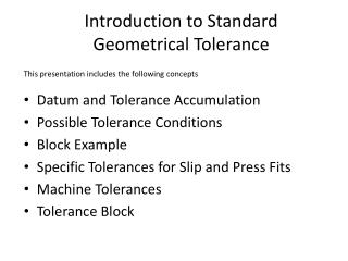 Introduction to Standard Geometrical Tolerance