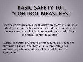 "Basic Safety 101, ""Control Measures."""