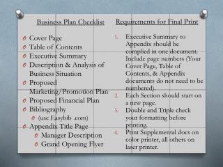 Business Plan Checklist Cover Page  Table of Contents Executive Summary