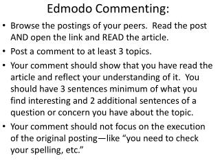 Edmodo Commenting: