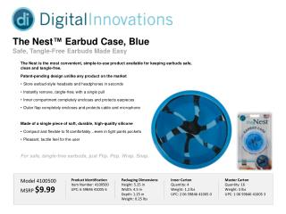 The Nest ™  Earbud Case, Blue Safe, Tangle-Free  Earbuds  Made Easy