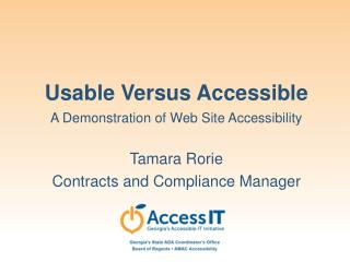 Usable Versus Accessible