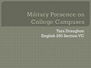 Military Presence on College Campuses