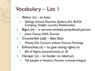 Vocabulary – List 1