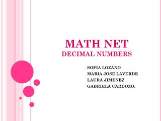 MATH NET DECIMAL NUMBERS