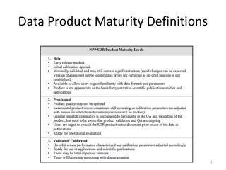 Data Product Maturity Definitions
