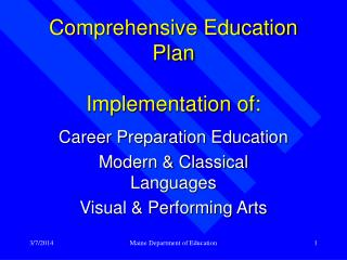 Comprehensive Education Plan Implementation of: