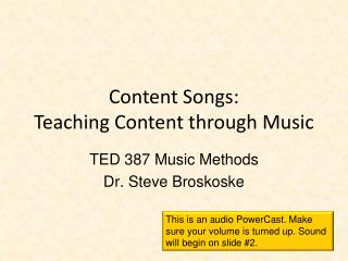 Content Songs: Teaching Content through Music