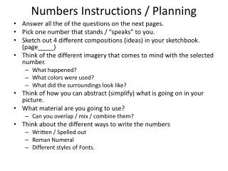 Numbers Instructions / Planning