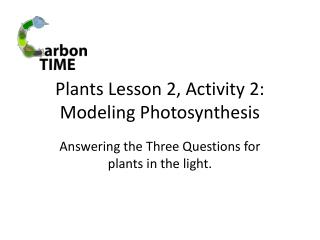 Plants Lesson 2, Activity 2:  Modeling Photosynthesis