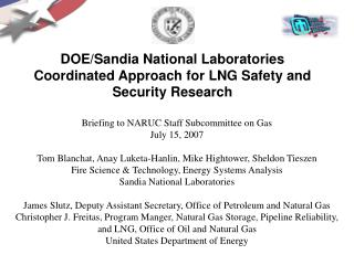 DOE/Sandia National Laboratories Coordinated Approach for LNG Safety and Security Research