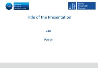 Title  of the P resentation