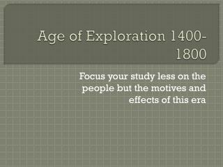 Age of Exploration 1400-1800