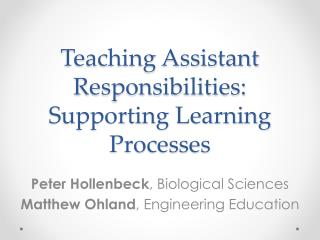 Teaching Assistant Responsibilities:  Supporting Learning Processes