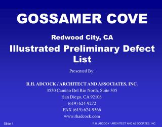GOSSAMER COVE Redwood City, CA Illustrated Preliminary Defect List