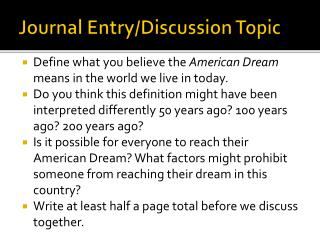 Journal Entry/Discussion Topic