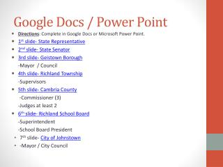 Google Docs / Power Point