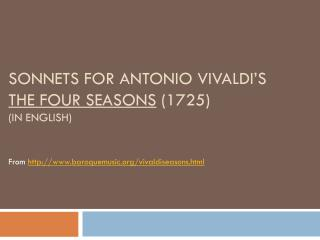 Sonnets  for  Antonio Vivaldi's  The  Four  Seasons  (1725)  (in English)