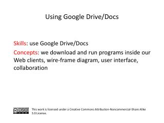 Using Google Drive/Docs