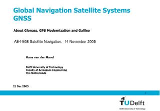 Global Navigation Satellite Systems GNSS