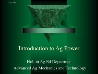 Introduction to Ag Power