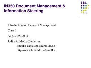 IN350 Document Management & Information Steering