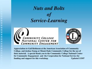Nuts and Bolts  of  Service-Learning