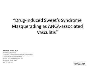 """Drug-induced Sweet's Syndrome Masquerading as ANCA-associated Vasculitis"""