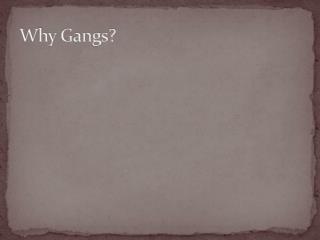 Why Gangs?