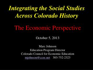 Integrating the Social Studies Across Colorado History