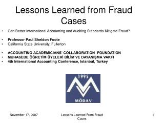 Lessons Learned from Fraud Cases