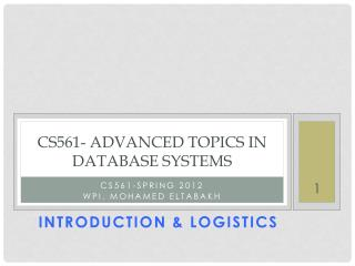 CS561- Advanced topics in database systems