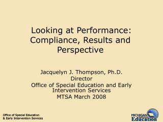 Looking at Performance: Compliance, Results and Perspective