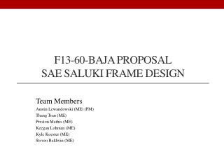 F13-60-Baja Proposal Sae  saluki frame design