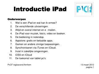 Introductie  iPad