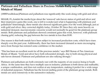 Platinum and Palladium Share in Precious Metals Rally says P