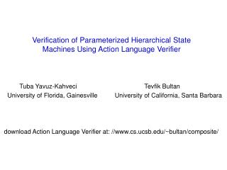 Verification of Parameterized Hierarchical State Machines Using Action Language Verifier