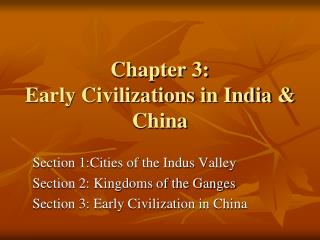 Chapter 3:  Early Civilizations in India & China