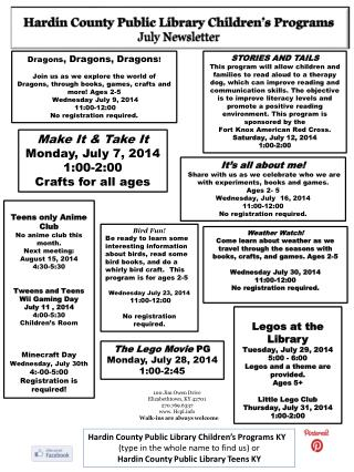 Hardin County Public Library Children's Programs July Newsletter