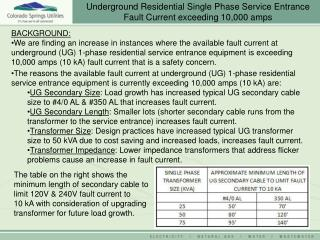 Underground Residential Single Phase Service Entrance Fault Current exceeding 10,000 amps