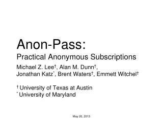 Anon-Pass: Practical Anonymous Subscriptions