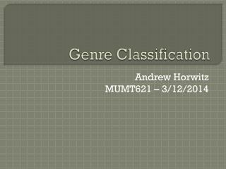 Genre Classification