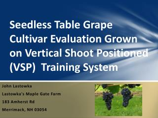 Seedless Table Grape Cultivar Evaluation Grown on Vertical Shoot Positioned (VSP)  Training System
