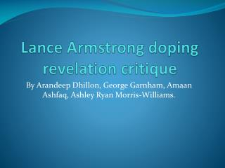 Lance Armstrong doping revelation critique