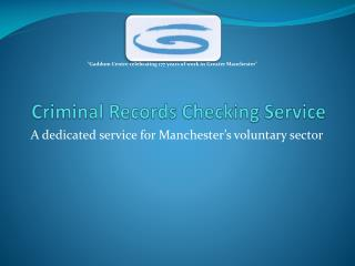 Criminal Records Checking Service